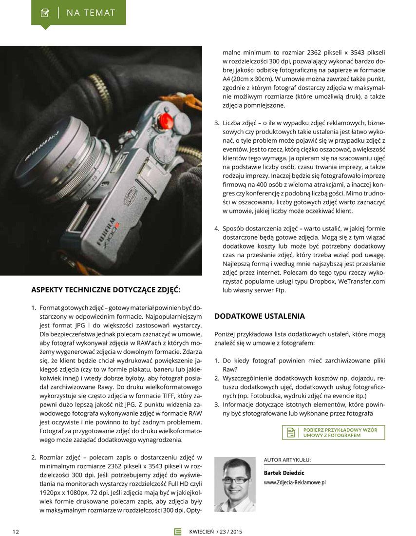 Event fotograf Bartek Dziedzic. Artykuł na temat umów między agencjami eventowymi a fotografami