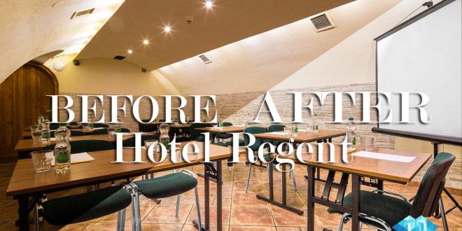 Retusz zdjęc hotel regent kraków. Fotografia przedstawia zdjęcie przed i po retuszu.