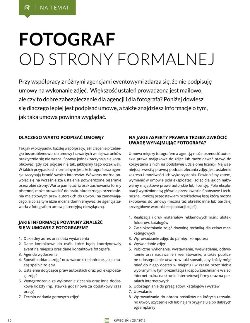 Umowa z fotografem. Artykuł fotografa Bartka Dziedzica
