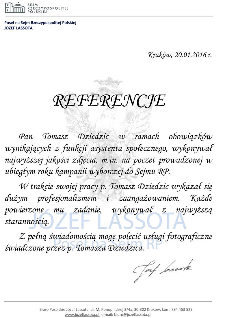 Referencje za zdjęcia do kampanii wyborczej posła Józefa Lassoty