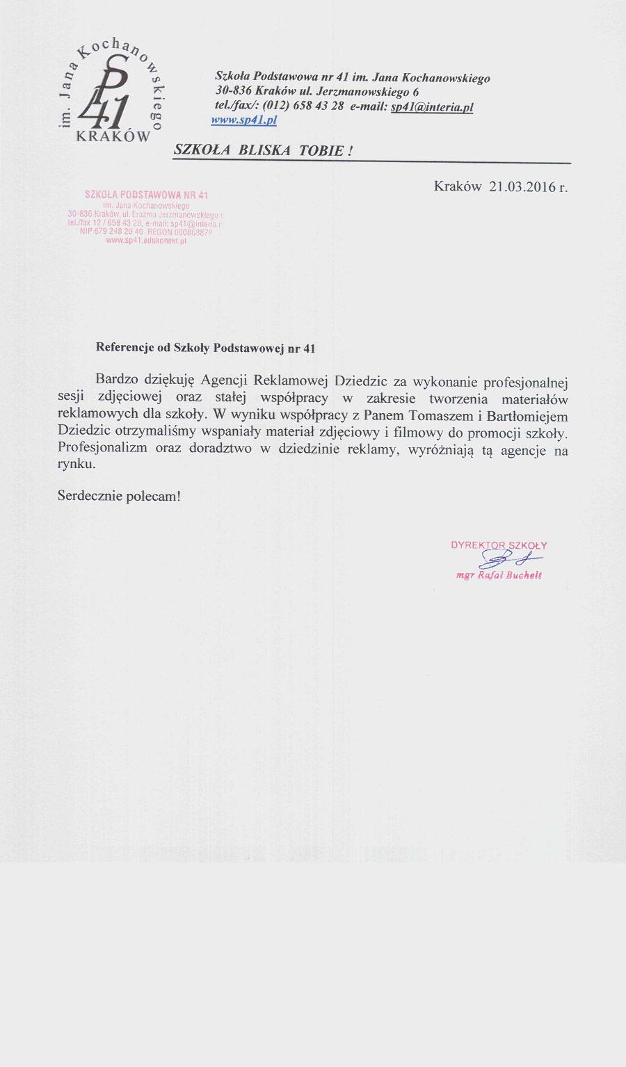 Referencje Szkoła Podstawowa nr 41 w Krakowie