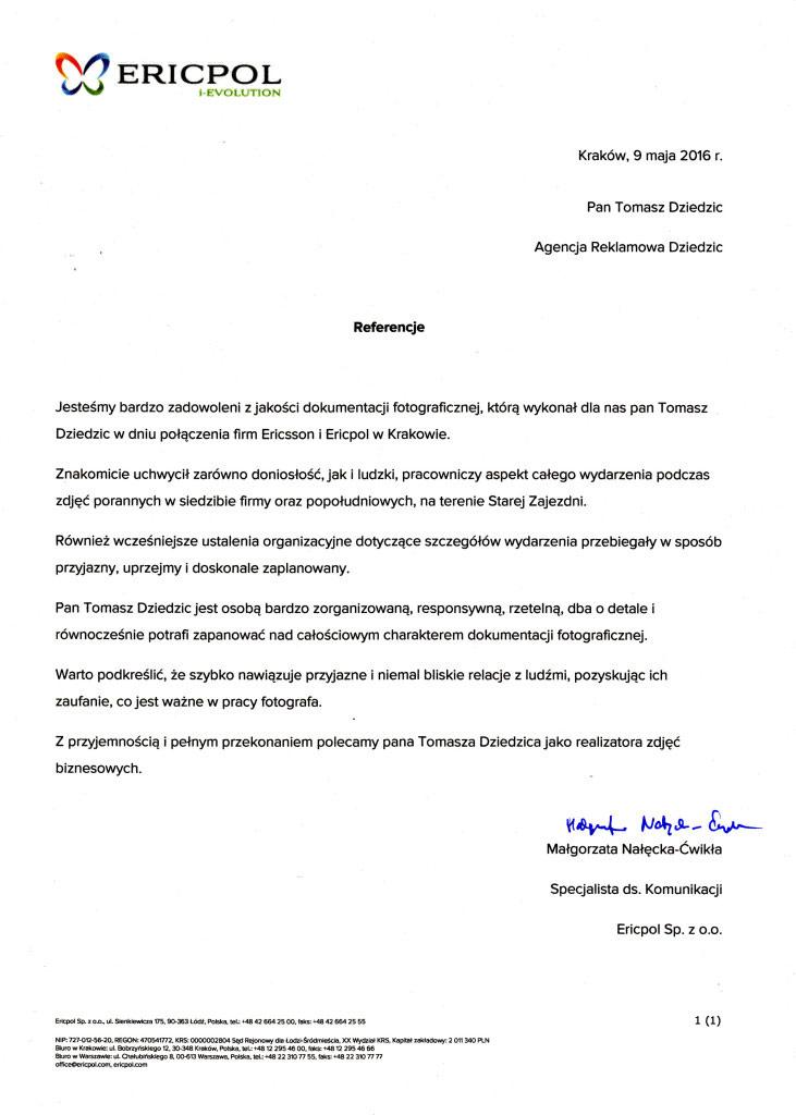 Referencje od firmy Ericpol&Ericsson. Fotografia eventowa Kraków