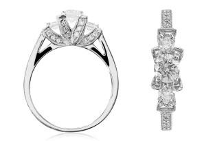 Zdjęcie biżuterii, pierścionek z białego złota z brylantami. Fotografia produktowa Kraków