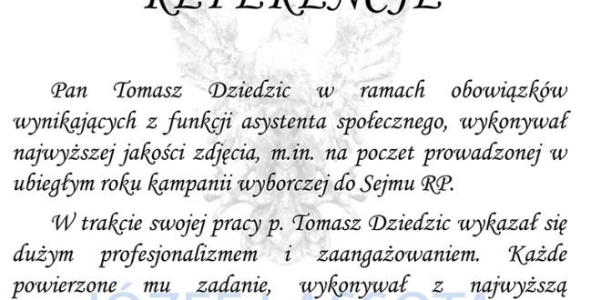 Referencje z biura poselskiego Józefa Lassoty
