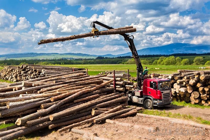 Załądunek drewna. Zdjęcie robione ze zwyżki w tle babia góra.