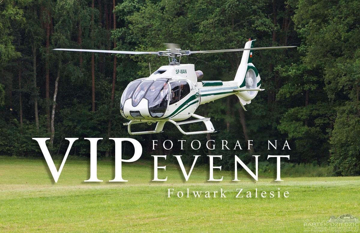 Fotograf na event dla Vipów. Lądowanie Helikoptera z Vipami na lądowisku w Folwarku Zalesie koło Krakowa.
